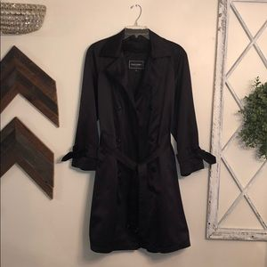 Gallery Black silk Trench coat size 8